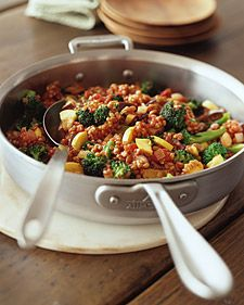 Broccoli, onion, tomatoes, yellow zucchini, and eggplant, coupled with nutty wheat berries (unprocessed whole kernels of wheat), make a lusty dish.