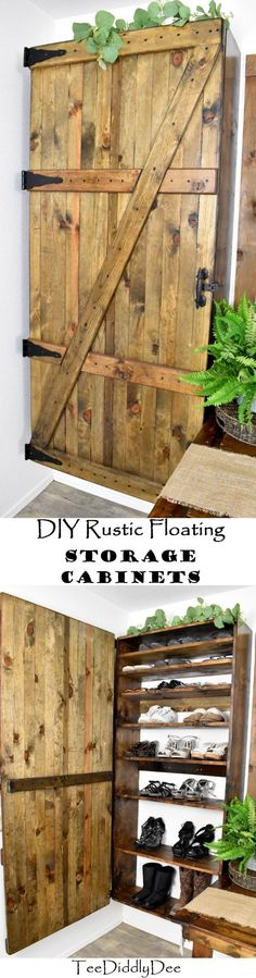 Future Home Interior DIY Rustic Floating Storage Cabinets Barrel Train, Frosted Mason Jars, Horse Flowers, Bottle Cutter, Foam Pumpkins, Old Towels, Storage Cabinets, Wood Storage, Storage Chest