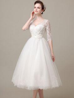 Tea Length Lace Wedding Dress with Sleeves DV2078
