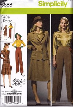 b7800b6d2ed Simplicity 3688  1940s Repro Vintage Sewing Pattern  Sportswear Separates.  Blouse And Skirt