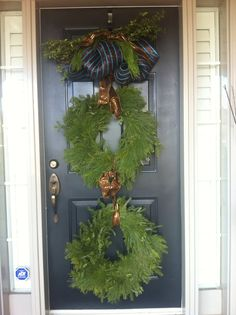 Customized Christmas Decor Entrance front door designed and created by FRANCESCA Designs Christmas Urns, Christmas Wreaths, Christmas Decorations, Holiday Decor, Front Door Entrance, Door Entryway, Outdoor Doors, Front Door Design, All The Colors