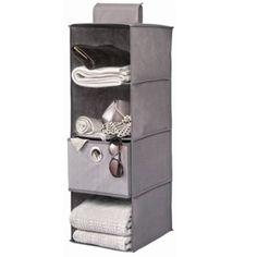 Organizador de tela colgante con 4 compartimentos. Diseñado para ahorrar espacio en tu armario.