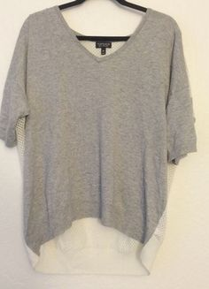 9934af380e0a Topshop mesh back knit grey v-neck sweater