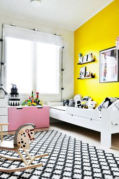 black, white, and yellow, pink kids room. Not loving that yellow wall but I like the rest! Yellow Kids Rooms, Pink Kids, Yellow Bedrooms, Yellow Nursery, Yellow Accent Walls, Yellow Accents, White Walls, Nursery Design, Wall Design
