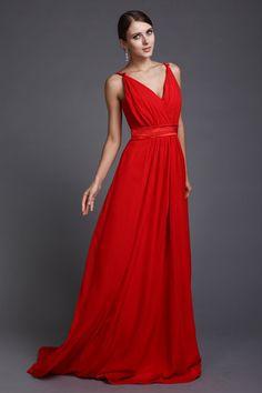 Sexy Spaghetti Straps Red Long Chiffon Bridesmaid Dress Vestido Longo Para  Baixinhas, Modelo Vestido Longo 8b03162516
