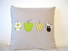 "Green apples cushion cover,  free motion applique, linen, Amy Butler cotton, 16"" / 40cm. Made in Belgium."