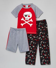 Loving this Bunz Kidz Red & Gray Pirate's Life Pajama Set - Toddler & Boys on #zulily! #zulilyfinds