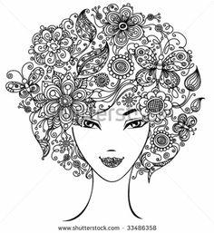 Pelo de mujer hecho de flores
