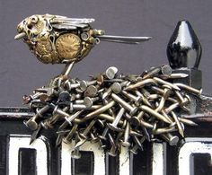 Artist Joe Pogan uses junk metal objects that he finds to create dazzling sculptures of various animals.