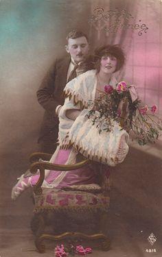 Romantische vintage liefhebbers briefkaart. Couple.Love kaart