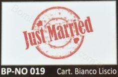 Bigliettino bomboniere matrimonio con scritta Just Married confezione da 20 pezzi