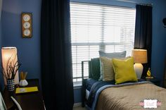 Beautiful nautical bedroom makeover, using accents found at Goodwill. Great tips for room makeover on a budget!