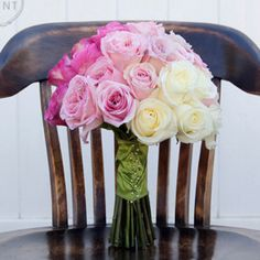 This ombre rose bouquet is so simple, yet so striking and a great way to incorporate the trend on your big day!