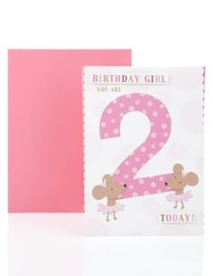 Ballerina Mice Age 2 Birthday Greetings Card | M&S