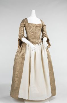 www.metmuseum.org. Wedding Dress  Date: 1776 Culture: American Medium: silk Dimensions: Length at CB: 53 in. (134.6 cm) Credit Line: Brooklyn Museum Costume Collection at The Metropolitan Museum of Art, Gift of the Brooklyn Museum, 2009; Gift of Edith Viele, 1949 Accession Number: 2009.300.731