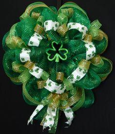 Poly Mesh Wreath, St Patricks Day Wreath, Green Clover Wreath, Front Door Wreath - Item 458. $54.00, via Etsy.
