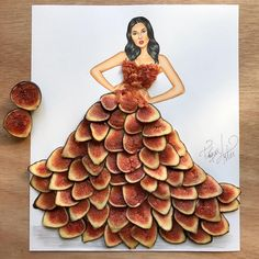 a young Armenian fashion illustrator who dresses his models with any kind of food . you have a lot of future ahead . Arte Fashion, 3d Fashion, Flower Fashion, Fashion Design Drawings, Fashion Sketches, Fashion Illustration Dresses, Dress Card, Creative Artwork, Flower Dresses