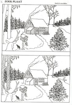 Zoek de verschillen Winter Activities, Christmas Activities, Christmas Crafts, Autism Learning, Preschool Activities, Colouring Pages, Coloring Books, Hidden Pictures, Picture Puzzles