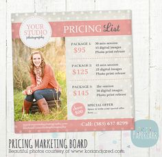Photography Pricing Packages - Marketing Board - Photoshop template - IP002 - INSTANT DOWNLOAD