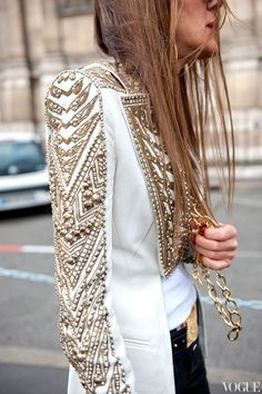 """The trouble with not having a goal is that you can spend your life running up and down the field and never score"". Bill Copeland. Visit www.colettewerden.com #colettewerden #streetstyle #jacket #bold #sparkle #unique"