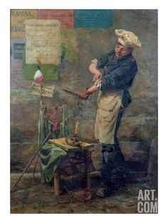 Narcisse Chaillou, Rat Seller During the Siege of Paris, 1870, Musee de la Ville de Paris. During the siege, food supplies were short. Thus, Parisians were forced to eat rats, horses and animals that were not edible. Many artists reflected and recorded these events through painting. This painting depicts a butcher getting ready to slaughter a rat.