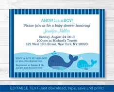 Whale Baby Shower Invitation INSTANT by LittlePrintsParties