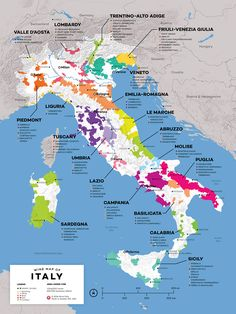 Detailed Map of Italian Wine by Wine Folly. High quality, detailed, and accurate map of major wine appellations in Italy. Available as a poster/print. Designed by experts for display or education. Guide Vin, Wine Guide, Italy Map, Italy Travel, Italy Italy, Piedmont Italy, Wein Poster, Chianti Classico, Wine Folly