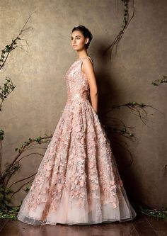 sleeveless light pink gown with flowers all over , fairytale gown , pretty , delicate , net gown , all over work , pastel pink gown , beautiful gown , sister of the bride , princess gown , subtle , chic , soft , pale