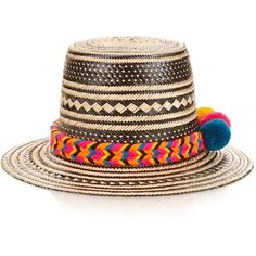 Yosuzi Tulum straw hat (6,155 MXN) ❤ liked on Polyvore featuring accessories, hats, beige multi, pompom hat, roll up hat, palm leaf straw hats, straw hat and american straw hats