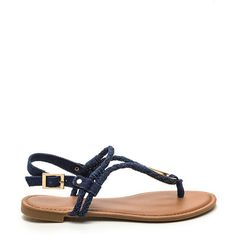 Outer Limits Denim T-Strap Sandals BLUE ($14) ❤ liked on Polyvore featuring shoes, sandals, blue, metallic shoes, synthetic shoes, denim shoes, woven shoes and t strap shoes