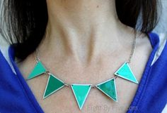 DIY Jewelry DIY Necklace  : DIY Pennant Banner Necklace - From Paint Chips!