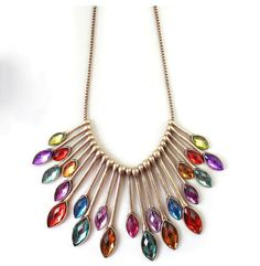 Luxury Peacock Tail Feather Inlaid Colorful Gem Alloy Necklaces Pendants