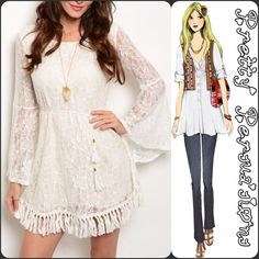 "Lace Fringe Bell Sleeve Scoop Back Boho Dress NWT Ivory Lace Fringe Bell Sleeve Boho Dress  Available in sizes S, M, L Measurements taken in inches from a size small:  Length: 34"" Bust: 38"" Waist: 33""  Features:  • lined • scooped/plunging back • fringe hemline • bell sleeves • all over lace • sheer lace sleeves  • soft, breathable material w/stretch   Cotton/Nylon  Bundle discounts available  No pp or trades Pretty Persuasions Dresses Mini"