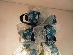 Large Christmas Tree topper bow Teal burlap with Silver Glitter Snowflakes and a silver mesh ribbon by creativelycarole on Etsy