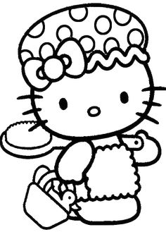 Hello Kitty Cool And Cute Coloring Page