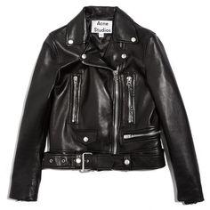 Acne Studios Mock Light Moto Jacket ($1,225) ❤ liked on Polyvore featuring outerwear, jackets, coats, coats & jackets, black, biker jacket, genuine leather biker jacket, real leather jackets, leather rider jacket and leather motorcycle jacket