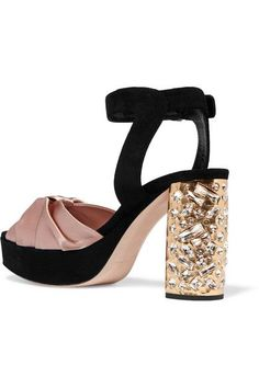 Heel measures approximately 95mm/ 4 inches with a 20mm/ 1 inch platform Antique-rose satin, black suede  Buckle-fastening ankle strap  Made in Italy