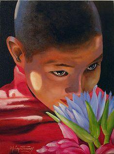 Black Women Art, Female Art, Children, Tibet, Painting, Oil On Canvas, Art Production, Paintings, Woman Art