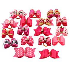 BysitShow Mixed Styles Pet Cat Puppy Topknot Small Dog Hair Bows With Rubber Bands Grooming Accessories Rosepink Pack of 20 >>> You can get more details by clicking on the image.
