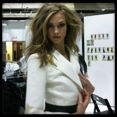 A behind the scenes moment with Karlie Kloss.
