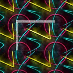Neon 80s Abstract Geometric Pattern Fabric