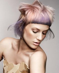 Tousled Bowl Cut with Lavender Highlights