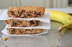 These Peanut Butter and Banana Oat Squares from Motive Nutrition are actually perfect pre or post workout snacks.
