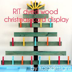 Christmas card display...not sure I would use dye, but it's a cute idea
