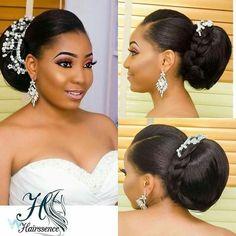 Big sleek back bun Black Brides Hairstyles, African Wedding Hairstyles, African Braids Hairstyles, Bride Hairstyles, Natural Bridal Hair, Natural Hair Braids, Wedding Hair And Makeup, Natural Hair Styles, Hair Makeup