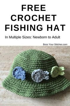 Let's Go Fish - Free Crochet Bucket Hat Pattern - Boss Your Stitches Sombrero A Crochet, Crochet Fish, Diy Crochet, Crochet Summer Hats, Crochet Baby Hats, Crochet For Kids, Booties Crochet, Crochet Hats With Flowers, Crocheted Hats