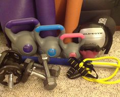 I have never been a fan of working out at a gym.  This means I keep a ton of workout equipment at home.  Lately, I've added a lot more to my collection. Some was given to me, other equipment was found at thrift stores, and in the case of kettlebells, I found an awesome sale.