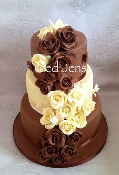 Chocolate rose 3 tier wedding cake