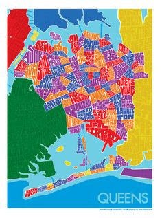 """Queens Rainbow Type Map, 18""""x24"""" - by typemaps ($40, from Etsy)"""