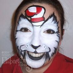Face Painting - The Cat in the Hat idea. Looking for ideas sine the Elope Cat in the Hat Costume requires a painted face.